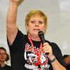 "Debbie Blank | The Herald-Tribune<br /> Principal Bev Ester closed the pep rally by saying, ""We are East Central! We have class and we have pride and we are better than anyone else. We are not done!"""