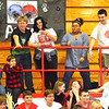 Debbie Blank | The Herald-Tribune<br /> Students hope to catch a T-shirt catapulted from a giant slingshot.