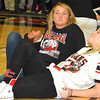 Debbie Blank | The Herald-Tribune<br /> Student section leaders Grace Burress (left) and Peyton Yocum relax during the rally.