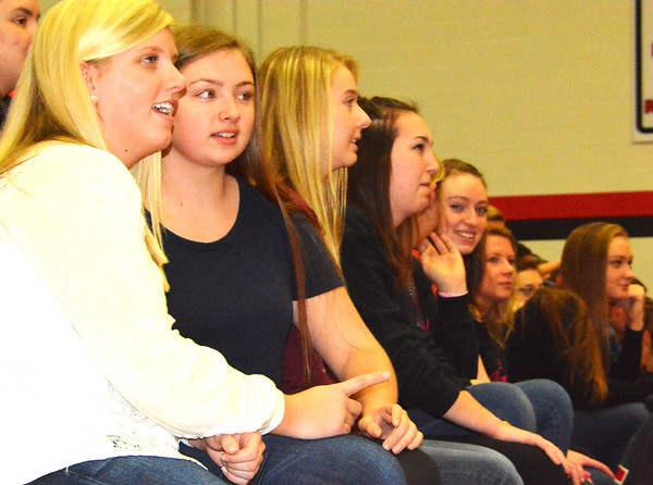 Debbie Blank | The Herald-Tribune<br /> Just before dismissal, the gym was packed with students watching the antics on the floor.
