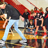 Debbie Blank | The Herald-Tribune<br /> Another pep rally amusement was using head movements to allow a tennis ball enrobed in mesh to push another tennis ball down the floor. Who will win?