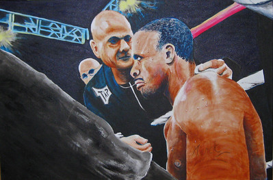"This was painted by my Aunt Gayle Kirby. She has been a life long fight fan and was inspired to paint this of Demetrius Hopkins' corner. 24"" X 36"" Acrylic on gallery wrapped canvas. It is available for purchase from here.  http://gaylekirbyart.blogspot.com/2010/07/corner-man.html"