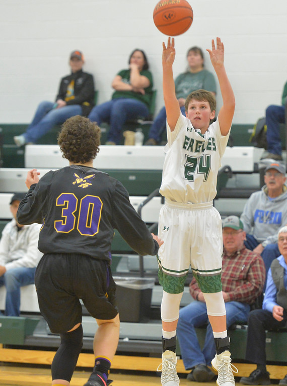 Justin Sheely | The Sheridan Press<br /> Tongue River's Ethan Hoffman shoots against the Hornets at Tongue River High School in Dayton Thursday, Jan. 4, 2018.