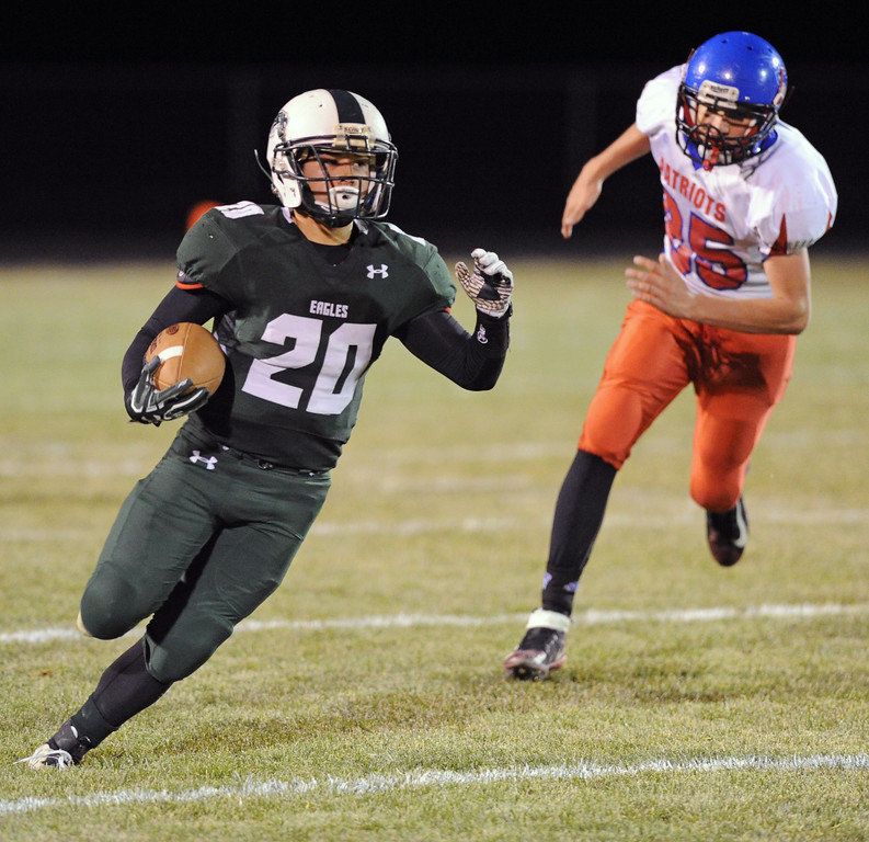 Running back Elias Dillon-Bennett runs free from the Upton-Sundance defense on Friday, Oct. 13 at Tongue River High School. Mike Pruden | The Sheridan Press