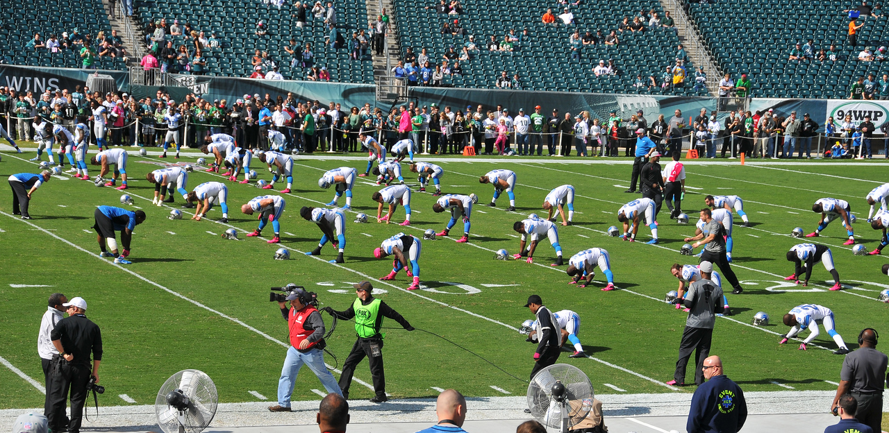 Lions in warm-ups, October 2012