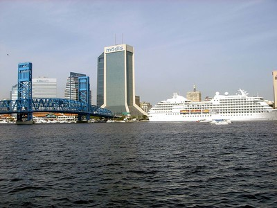 View of bridge, FOX Cruiseship and JAX Skyline