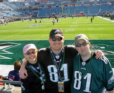 Jodi, Brett & Steve at Eagles end zone