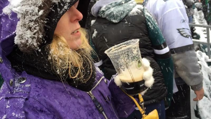 Jenelle at Eagles / Detroit snowfest!