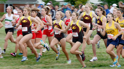 09/04/2010 Here is the Avon Lake girls team at the start of the Early Bird Cross County meet at Lorain County community college. Photo by Tom Mahl