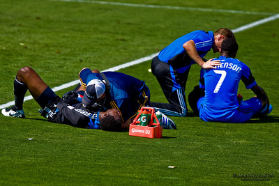 SANTA CLARA, CA - JUNE 25: Injured players are getting help during the MLS regular season soccer game Earthquakes vs LA Galaxy, on June 25, 2011 at the Buck Shaw Stadium in Santa Clara, CA.