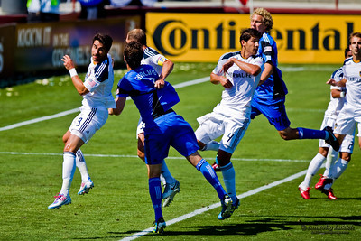 SANTA CLARA, CA - JUNE 25: Players Ryan Johnson (19), Juan Pablo Angel(9), Bobby Burling(2), Gregg Berhalter(3), Omar Gonzalez(4), Steven Lenhart(24), compete for the ball during the MLS soccer game Earthquakes vs LA Galaxy, on June 25, 2011 at the Buck Shaw Stadium in Santa Clara, CA.