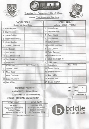 Eastleigh (2) v Dartford (0) 2.12.2014 VC