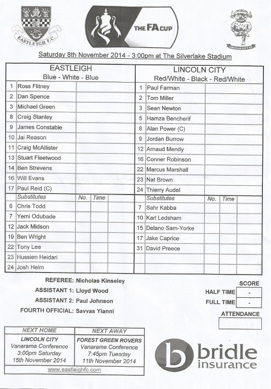 Eastleigh (2) v Lincoln City (1) FA Cup 1st Rnd 8.11.2014