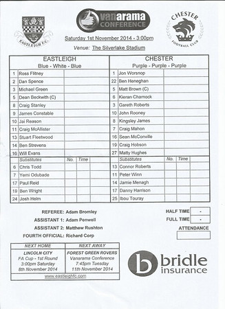 Eastleigh (3) v Chester City (2) VC 1.11.2014