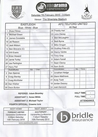Eastleigh (3) v Telford United (3) 7.2.2015