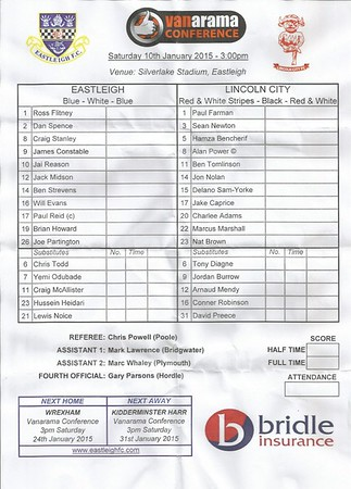 Eastleigh (4) v Lincoln City (0) 10.1.2015