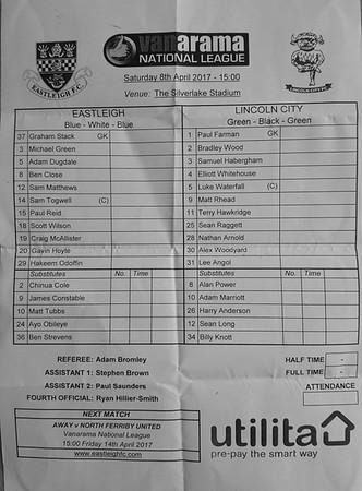 Eastleigh (0) v Lincoln City (1) 8.4.2017