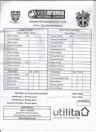 Eastleigh (2)  Sutton United (1) 24.9.2016