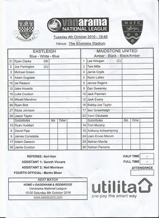 Eastleigh (3) v Maidstone United (0) 4.10.2016