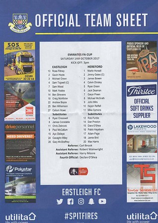 Eastleigh (1) v Hereford (2) 14.10.2017 FA Cup 4th QR