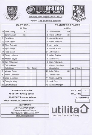 Eastleigh (2) v Tranmere Rovers (0) 19.8.2017