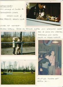 19750331 Onderschrift: SEMVET 1975 D.HV. ontvangt uit Londen de Crackenford Ladies Hockey Club & Peek Frean's Hockey Club  Laura (Kanters, jwblom) int inschrijfgelden terwijl Remco (Kanters, jwblom) en Reinier (Pollmann, med. E. Kanters 15 december 2018) elders zich vermaken.  Nadat Erik (kanters, jwblom) de ladies een strafbal toegekend had  hosten Laura en Frank Turner er op los tussen het BBQ' en  in .... Opmerking: De Telescoop 1974/1975 is niet aanwezig. Blijkens notulen bestuursvergadering 21 februari 1975 is het programma voor Peek Frean als volgt: vr. 28/3 's avonds ontvangst op kluphuis, kennismaking met gastvrouwen c.q. gastheren za  j29/3 's morgens vrij, 's middags wedstrijd, 's avonds in kluphuis film, bingo etc. zo 30/3 vaartocht ijssel; 's avonds paasvuren kijken. ma 31/3 semvet-toernooi.  Op de foto's dus het semvet-toernooi 31 maart 1975.   Archief DHV ontvangen Erik Kanters 15 december 1975 Fotograaf: ws. Erik Kanters Formaat:A4 Afdrukken kleur