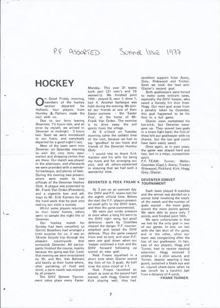 1977 Onderschrift: zie foto  Opmerking: artikel in Peek Frean 's Club Journal zomer 1997. Waarschijblijk dus geheten Peek Frean Assorted   CollectieFrankTurner geschonken aan Archief DHV Formaat:
