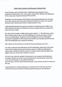201202 Stukje Frank Turner februari 2012 over geschiedenis relatie Peek Frean DHV. Toegezonden aan DHV februari 2012.   Collectie Frank Turner, geschonken aan DHV