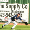 Star Photo/Larry N. Souders<br /> Twins right fielder Shane Carrier (8) make a diving attempt on the Braves, and former ETSU player, Hagen Owenby (49) triple in the top of the third.