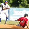 Star Photo/Larry N. Souders<br /> With Jose Miranda batting in the top of the fouth the Twins Shane Carrier (8) gets his first stolen base of the season, well ahead of the high throw to Mets shortstop Oliver Pascual.