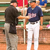 Star Photo/Larry N. Souders<br /> Twins third base and batting coach Jeff Reed (1) argues the out call made by home plate umpire Dale Ford that ended the first inning.
