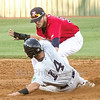 Star Photo/Larry N. Souders<br /> The Yankees' Pablo Olivares (14) is gunned down by Twins catcher Rainis Silva (11) stealing second base, second baseman Carson Crites (39) applies the tag for the final out of the fourth. Olivares was the second Yankee base runner caught stealing in the top of the fourth.