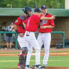 Star Photo/Larry N. Souders<br /> Twins manager Ray Smith (1) was quick with the hook for pitcher Charlie Barnes (21) as he makes the call to the bullpen in the top of the third.