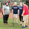 Star Photo/Larry N. Souders<br /> Hunter Baptist choir members (L-R) Mason Van Horn, Joseph Smithdeal, Maison Barnett, and Dave Whales sing the national anthem prior to Wednesday night Twins game.
