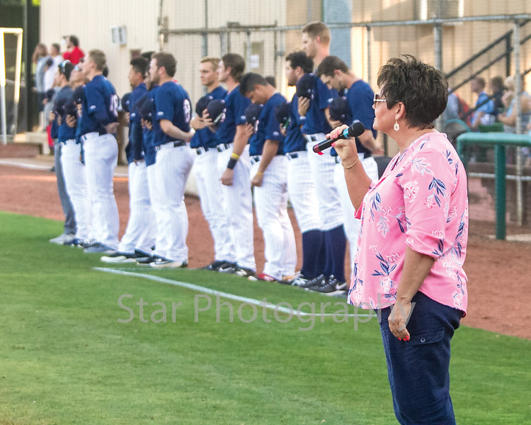 Star Photo/Larry N. Souders<br /> Friday night  was Veteran's Night at Joe O'Brien Stadium and Anita Whitehead of Johnson City honored America and Veterans with a beautiful edition of the Star Spangled Banner prior to the start of the game.