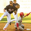 Star Photo/Larry N. Souders<br /> Twins second baseman Carson Crites (39) tries to complete the double play on Wadye Ynfante (3) grounder, the Cards Wood Myers (5) is out at second on the play.