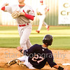 Star Photo/Larry N. Souders<br /> The Twins Jose Miranda (27) hard slide into Cards second baseman second baseman J. D. Murders (8) breaks up a double play on Mark Contreras (5) grounder to third, Contreras was safe at first.