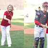 Star Photo/Larry N. Souders<br /> After throwing out the first pitch retired Air Force Chief Master Sergeant Sara Sellers poses with Twins starting catcher Andrew Cosgrove prior to the start of Friday nights game with the Johnson City Cardinals. Friday night was Veteran's Night at Joe O'Brien Stadium.
