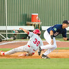Star Photo/Larry N. Souders<br /> The Cards Chase Pinder (36) slides into third as third baseman Andrew Bechtold (47) looks for the  throw from Twins right fielder Shane Carrier on Irving Lopez single.