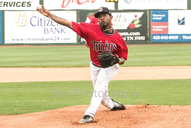 Star Photo/Larry N. SoudersThe Twins Moises Gomez (33) fires a warmup pitch prior to the start of the game. Gomez allowed only two hits prior to being lifted in the top of the fifth for the victory in game one of a twi-night double header at Joe O'Brien stadium Thursday night.