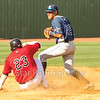 Star Photo/Larry N. Souders<br /> The Twins Kolton Kendrick (23) is out at second on Mark Contreras (5) grounder to Rays shortstop Zach Rutherford, breaking up a potential double play by second baseman Kevin Santiago (22) in the bottom of the fourth.