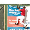 Star Photo/Larry N. Souders<br /> Twins center fielder Mark Contreras (5) leaps amd crashes into the wall in left center going after the Rays' Devin Davis (32) double in the top of the fourth inning.