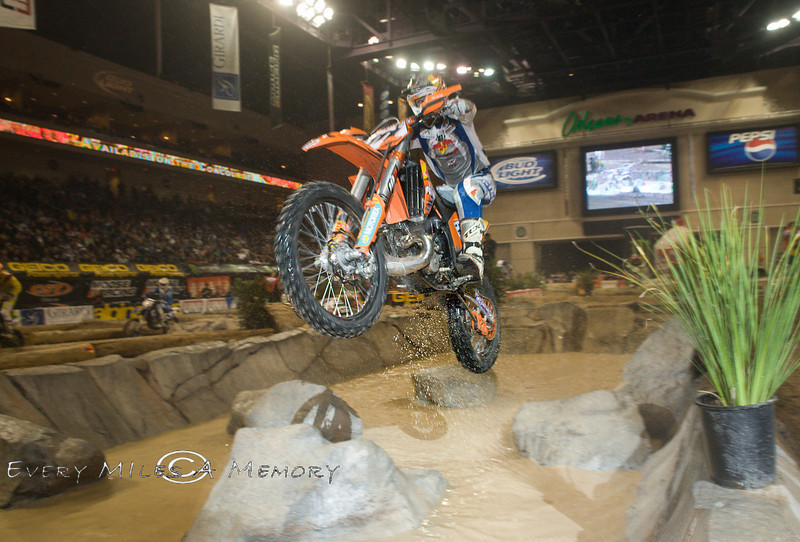The Water Crossing was some of the Best Action of the Track - Taddy Blazusiak shows the best way to cross it - Endurocross Finals - Photo by Pat Bonish