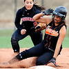Erie's Sasha Duran-Fong (2) slides safely into second ahoead of Burlington's Casey Mitchek (8) at the Class 3A State Championships at Aurora Sports Park in Aurora Saturday, Oct. 24, 2009. Erie won the championships, 8-0.  <br /> KASIA BROUSSALIAN / THE CAMERA
