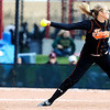 Erie's Mariah Bledsoe (23) pithces at the Class 3A State Championships at Aurora Sports Park in Aurora Saturday, Oct. 24, 2009. Erie won the championships, 8-0.  <br /> KASIA BROUSSALIAN / THE CAMERA