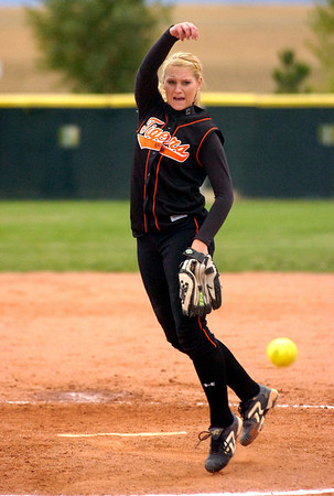 Lauren Murphy-Payne pitches for Erie High School as they played Holy Family at Erie HS on Tuesday  September 22, 2009.<br /> Photo by Paul Aiken
