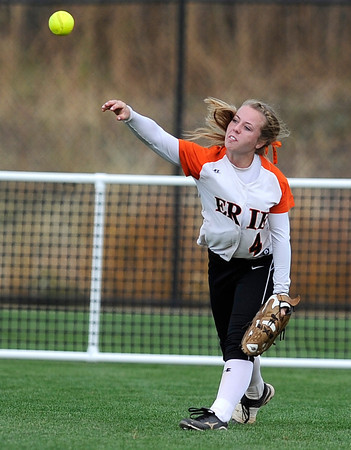 "Erie High School's Bella Steinhauer makes a throw from the outfield during a game against Wheat Ridge High School on Saturday, Oct. 20, at the Aurora Sports Park in Aurora. Erie Lost the game 6-4. For more photos of the game go to  <a href=""http://www.dailycamera.com"">http://www.dailycamera.com</a><br /> Jeremy Papasso/ Camera"