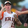 "Erie High School's Claire Nibbe gets a high-five from a teammate after making the third out during a game against Wheat Ridge High School on Saturday, Oct. 20, at the Aurora Sports Park in Aurora. Erie Lost the game 6-4. For more photos of the game go to  <a href=""http://www.dailycamera.com"">http://www.dailycamera.com</a><br /> Jeremy Papasso/ Camera"