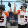 "Erie High School's Anne Fisher, No. 19, high-fives teammate Kaitlyn Glaze after scoring during a game against Pueblo East High School on Saturday, Oct. 20, at the Aurora Sports Park in Aurora. Erie Lost the game 6-4. For more photos of the game go to  <a href=""http://www.dailycamera.com"">http://www.dailycamera.com</a><br /> Jeremy Papasso/ Camera"