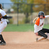 "Erie High School's Bella Steinhauser slides into second base safely during a game against Pueblo East High School on Saturday, Oct. 20, at the Aurora Sports Park in Aurora. Erie Lost the game 6-4. For more photos of the game go to  <a href=""http://www.dailycamera.com"">http://www.dailycamera.com</a><br /> Jeremy Papasso/ Camera"